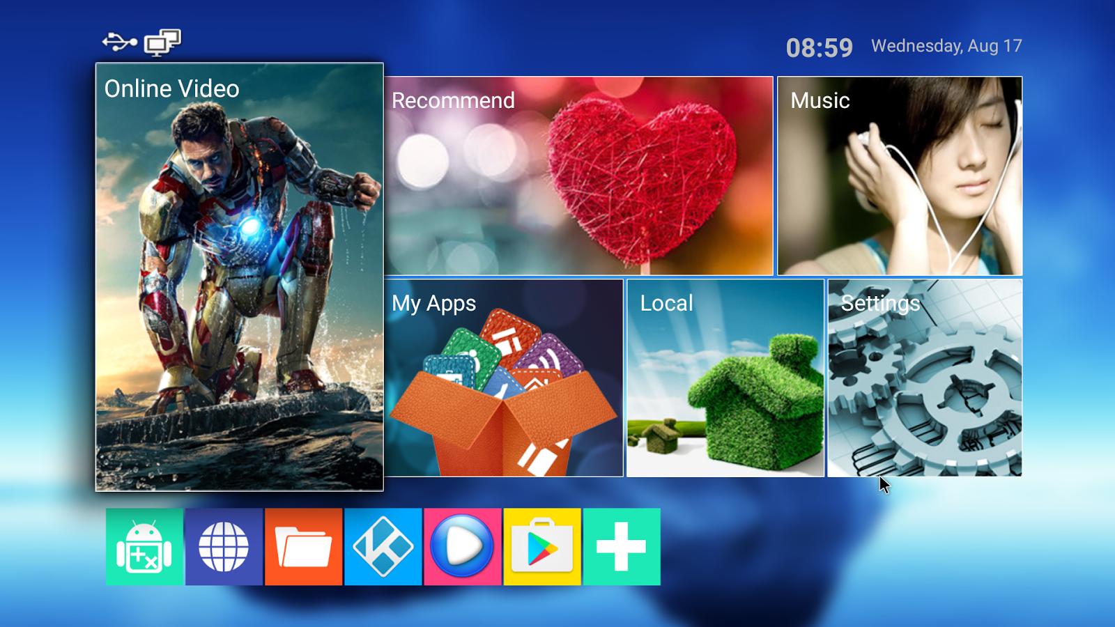 Рабочий стол смарт ТВ приставки MXQ Pro 4K на Android 5.1
